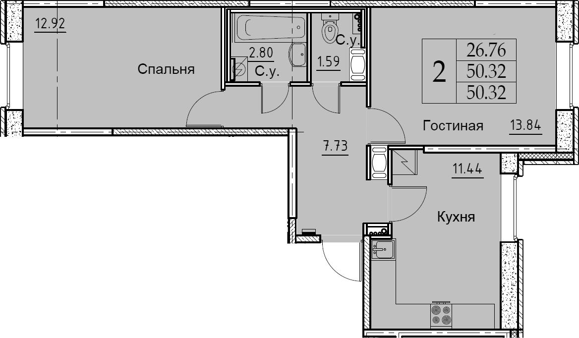 2-к.кв, 50.32 м², 2 этаж