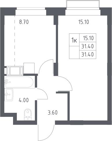 1-комнатная, 31.4 м²– 2