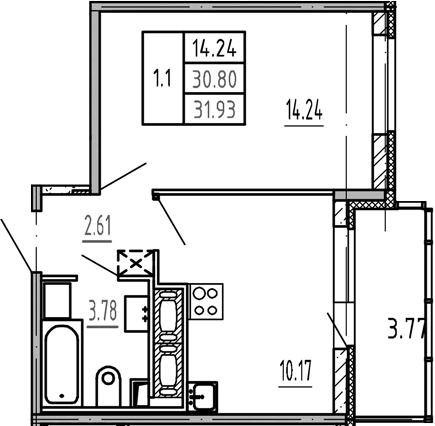 1-к.кв, 30.8 м²
