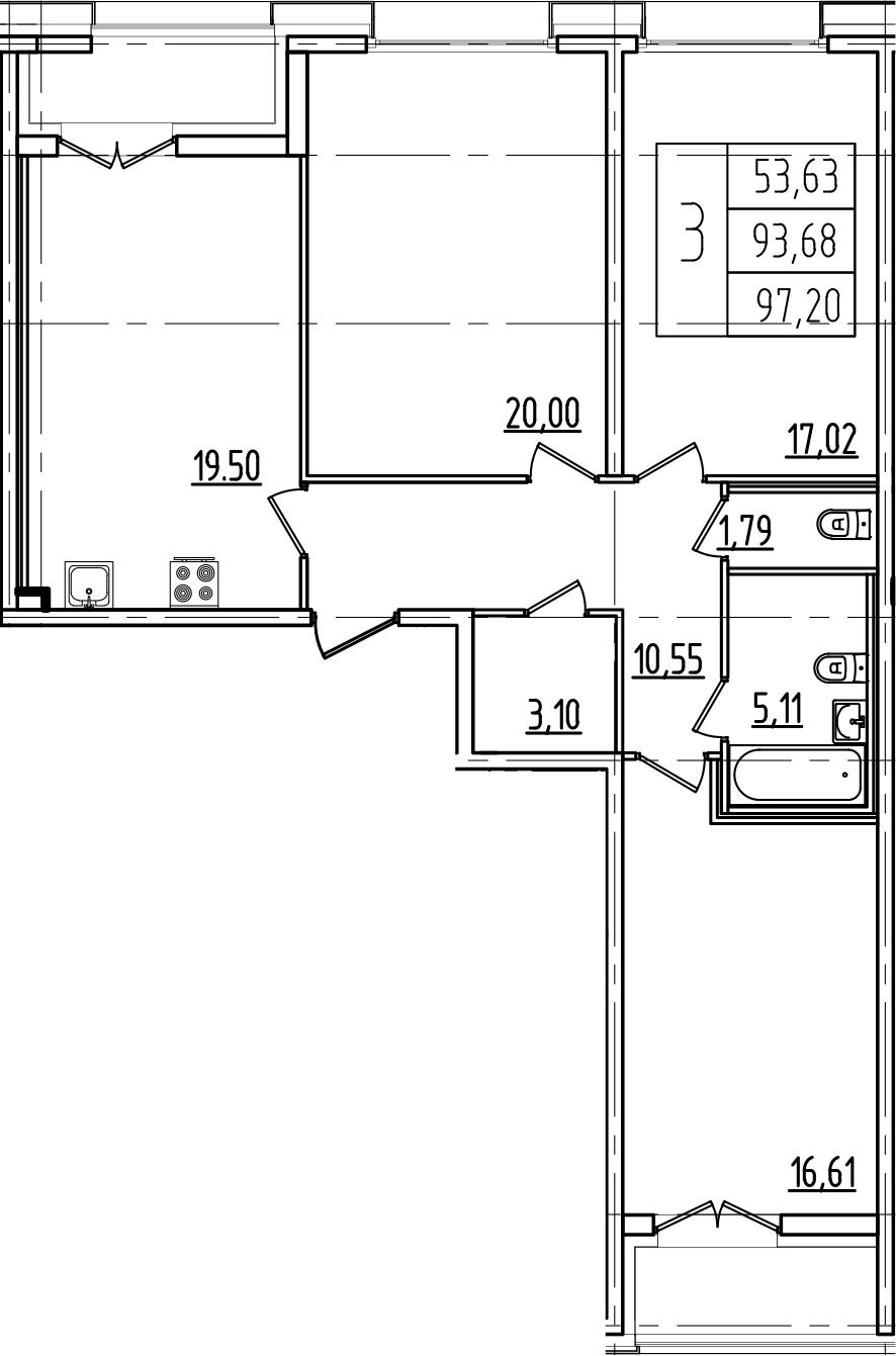 4Е-комнатная, 97.2 м²– 2