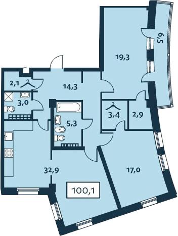 3Е-комнатная, 100.09 м²– 2