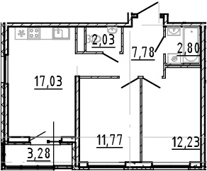 3Е-к.кв, 53.64 м², 18 этаж