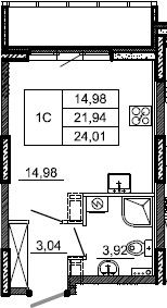 Студия, 24.01 м², 2 этаж – Планировка