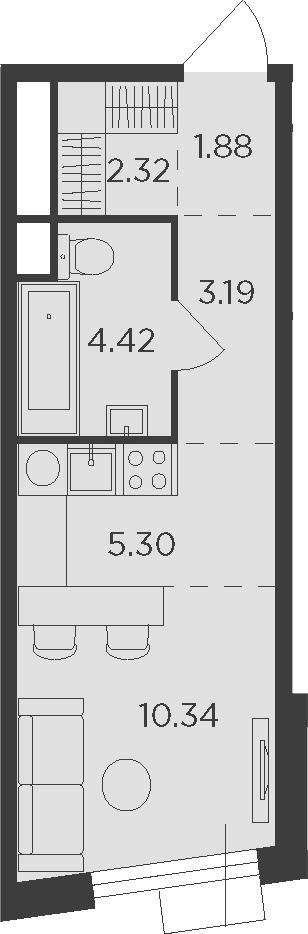 Студия, 27.45 м²