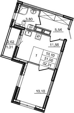 1-к.кв, 32.31 м², от 4 этажа