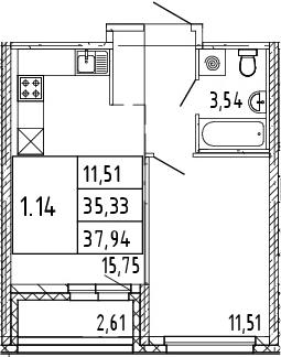2Е-комнатная квартира, 36.64 м², 1 этаж – Планировка