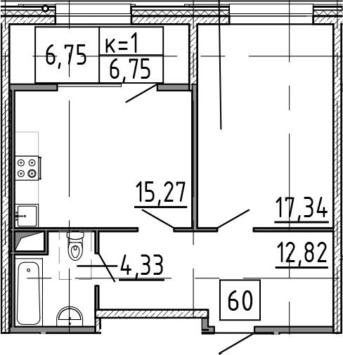 2-к.кв (евро), 56.51 м²