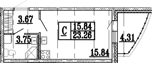 Студия, 27.58 м²