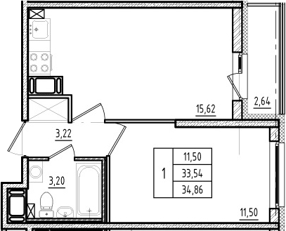 2Е-комнатная, 33.54 м²– 2