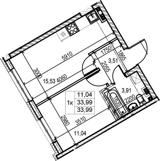 1-комнатная, 34.11 м²– 2