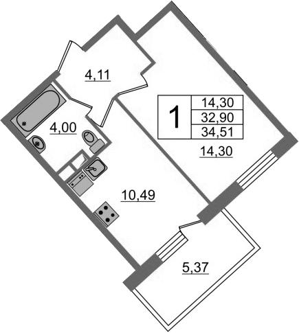 1-к.кв, 38.27 м²