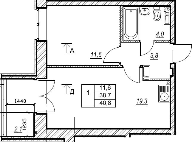 1-к.кв, 40.9 м², 6 этаж
