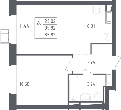 2Е-комнатная, 35.85 м²– 2