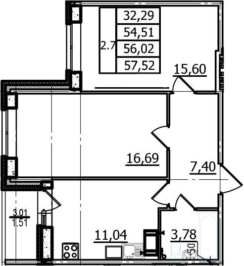 2-к.кв, 54.51 м², 4 этаж