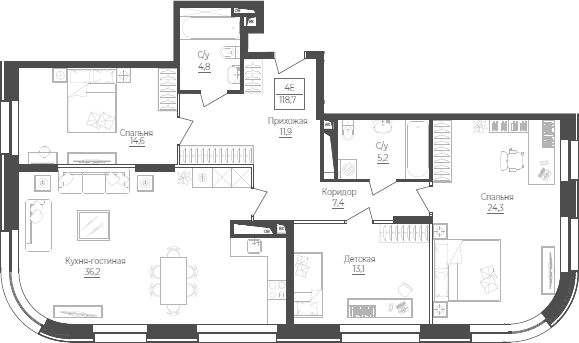 4Е-к.кв, 118.7 м²