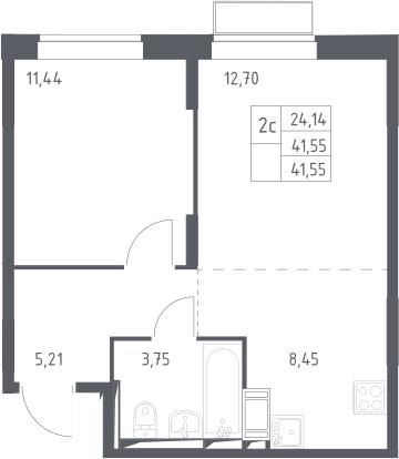 2Е-комнатная, 41.55 м²– 2