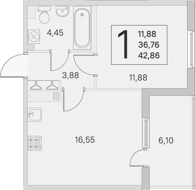 2Е-комнатная, 36.76 м²– 2