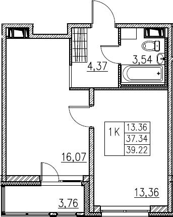 2Е-комнатная, 39.22 м²– 2