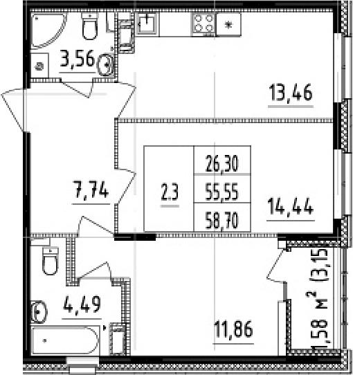 2-к.кв, 58.7 м²