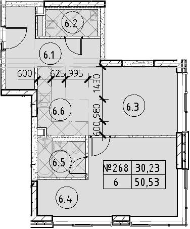 2Е-к.кв, 50.53 м², 29 этаж