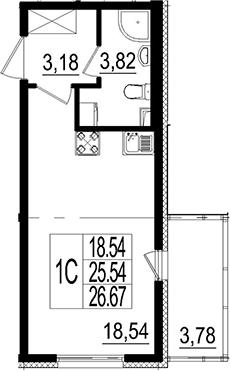 Студия, 26.67 м²– 2