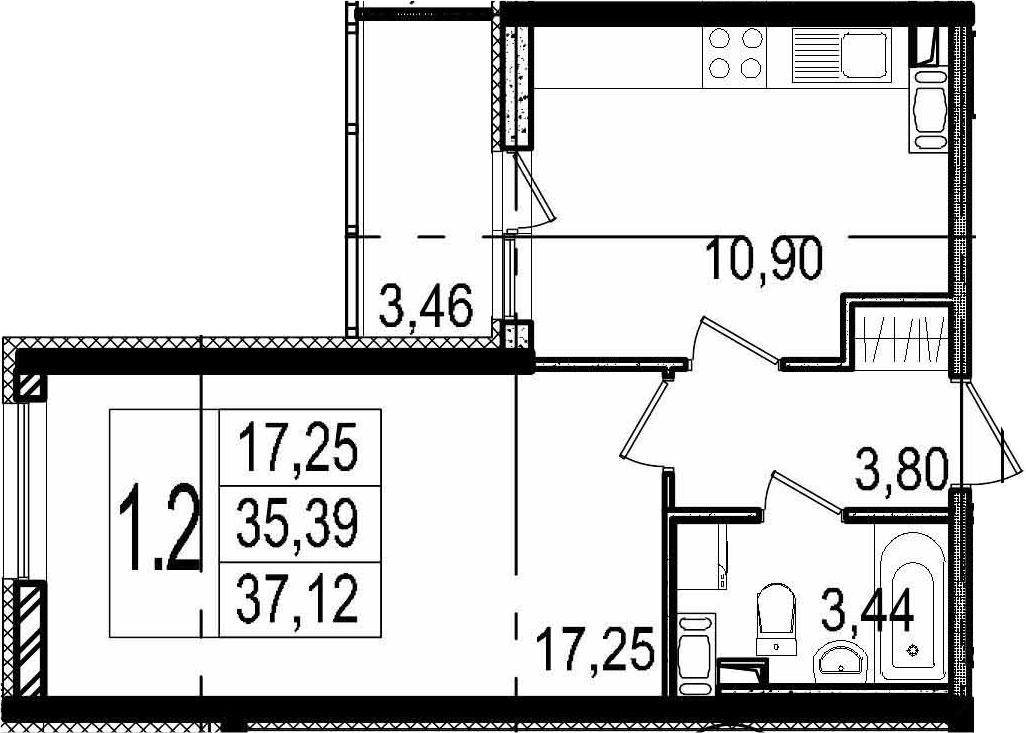 1-комнатная, 35.39 м²– 2