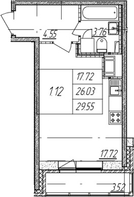 Студия, 26.03 м²