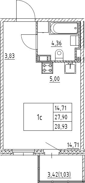 Студия, 28.93 м²– 2