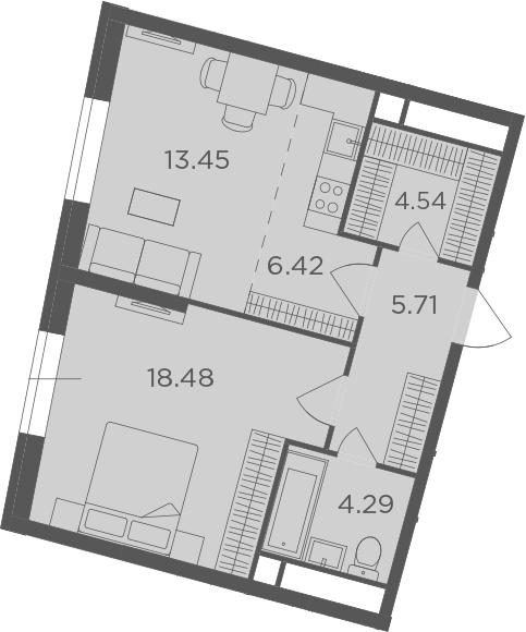 2Е-комнатная, 52.89 м²– 2