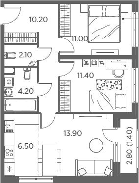 3Е-комнатная, 60.7 м²– 2