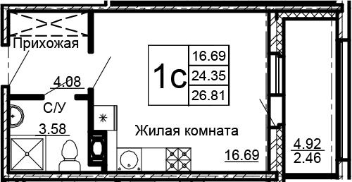 Студия, 29.27 м²
