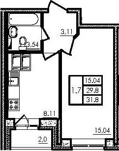 1-к.кв, 29.8 м², 24 этаж