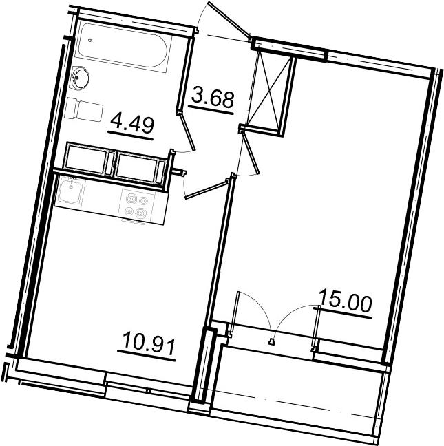 1-к.кв, 35.93 м²