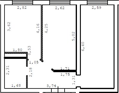 2-комнатная, 50 м²– 2