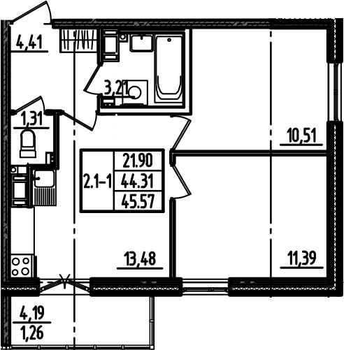 2-к.кв, 45.57 м²