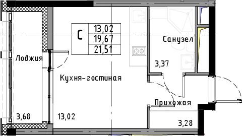 Студия, 21.51 м², 5 этаж