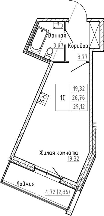 Студия, 29.12 м²– 2