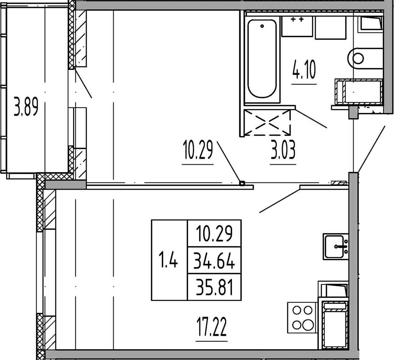 2Е-к.кв, 34.64 м², 13 этаж