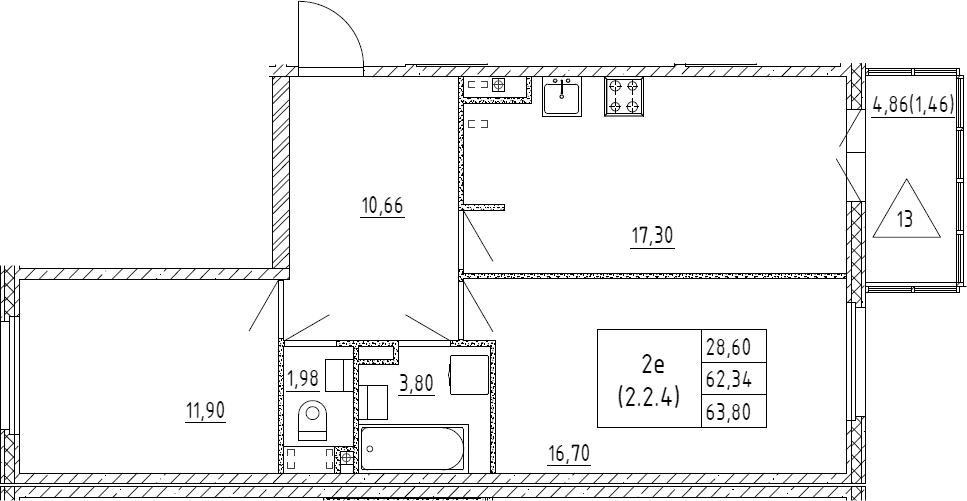 3Е-к.кв, 63.8 м², 2 этаж