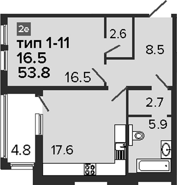 2-к.кв (евро), 58.6 м²