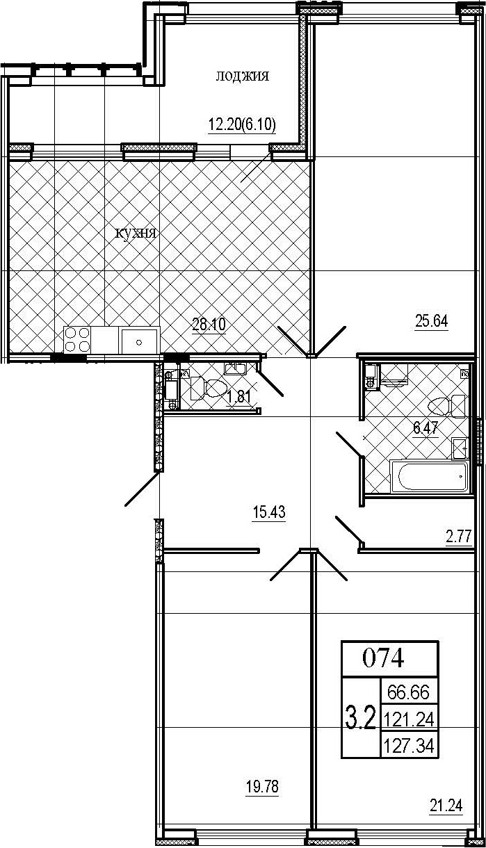 4Е-комнатная квартира, 127.34 м², 6 этаж – Планировка