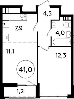 2Е-к.кв, 41 м²