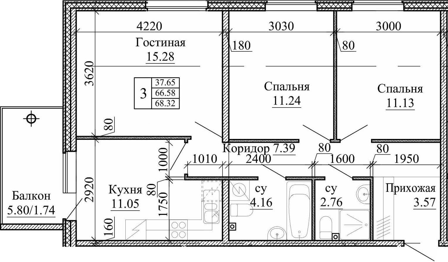 3-к.кв, 68.32 м²