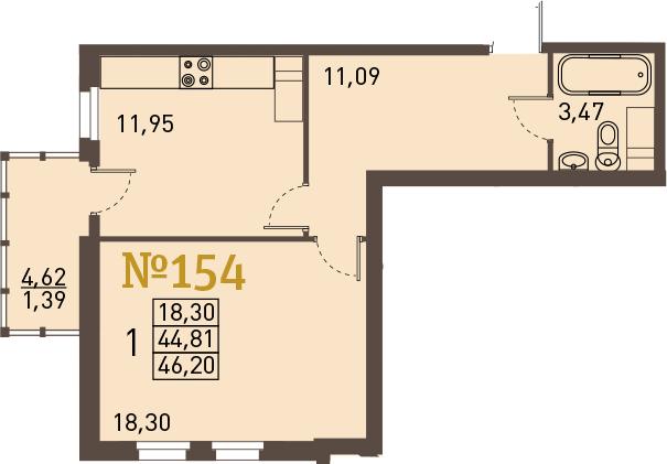 1-к.кв, 49.44 м²