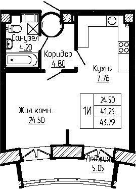 1-к.кв, 43.79 м²
