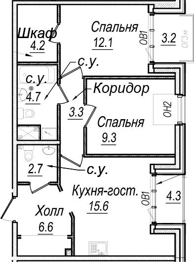 3Е-комнатная, 66.2 м²– 2