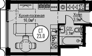 Студия, 23 м², от 18 этажа