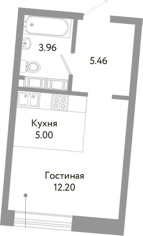 Студия, 26.62 м², 10 этаж