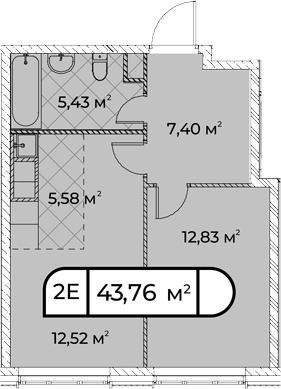 2Е-комнатная, 43.76 м²– 2