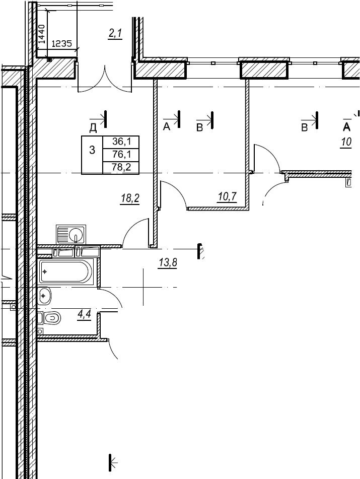 3-к.кв, 78.2 м², от 6 этажа